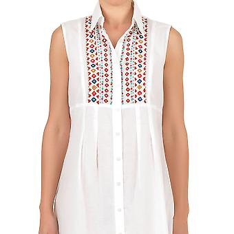 Iconique IC7-030 Women's White Aztec Embroidered Camisole Beach Dress
