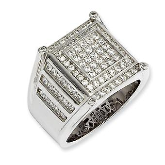 Sterling Silver Pave Rhodium-plated and Cubic Zirconia Brilliant Embers Mens Ring - Ring Size: 9 to 11