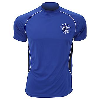 Rangers FC Official Mens Blue Panel Football Crest T-Shirt