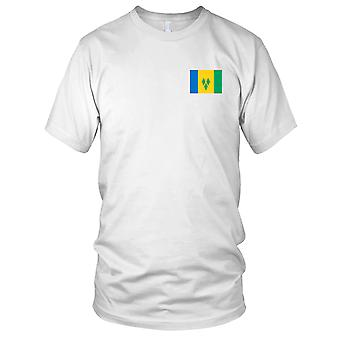 St. Vincent und die Grenadinen Land Nationalflagge - Stickerei Logo - 100 % Baumwolle T-Shirt Herren T Shirt