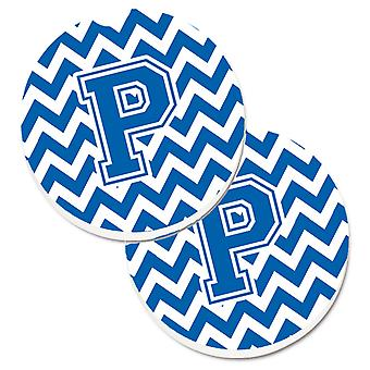 Letter P Chevron Blue and White Set of 2 Cup Holder Car Coasters