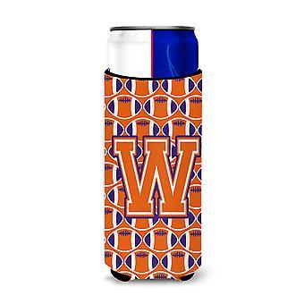 Letra W fútbol naranja, blanco y regalía aisladores de bebida Ultra delgado c