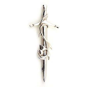 Sterling Silber Schwert und Distel Kilt Pin (825K WH)