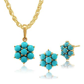 9ct Yellow Gold Genuine Turquoise Cabochon Cluster Stud Earring & Necklace Set
