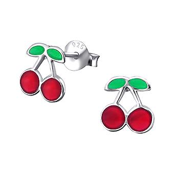 Cherry - 925 Sterling Silver Colourful Ear Studs - W19451x