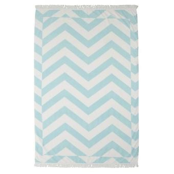 Zante Mint Chevron Fringed Beach Towel