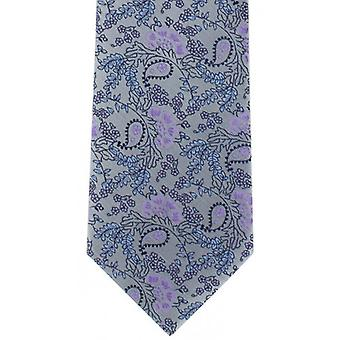 Michelsons of London Natural Floral Polyester Tie - Silver/Purple