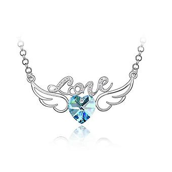 Womens Sky Blue and Silver Love Pendant Necklace with Angel Wings
