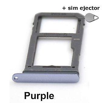 SIM-kort innehavaren/Micro SD kort för Samsung Galaxy S8-lila + deco pin-sim ejektor