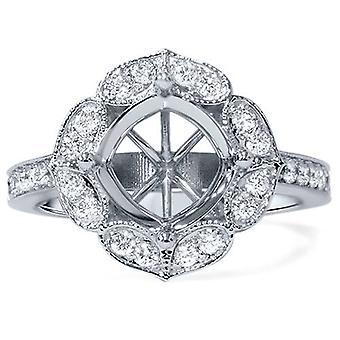 Inställningen för 1 / 2ct antika Halo diamant förlovningsring 14K vitguld