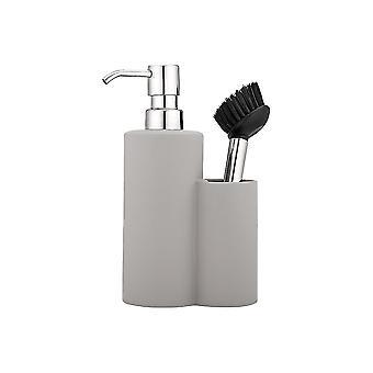 Ladelle Soft Matt Stone Soap Dispenser and Brush