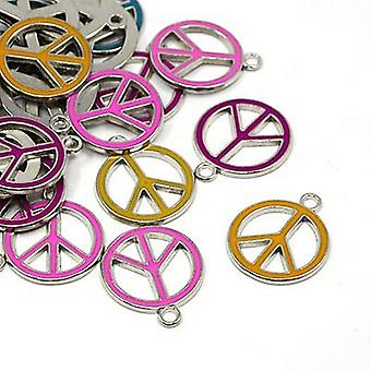 Packet 10 x Multicolour Enamel & Alloy 25mm Peace Sign Charm/Pendant Mix HA08250