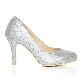 PEARL Silver Glitter Stiletto High Heel Classic Court Shoes