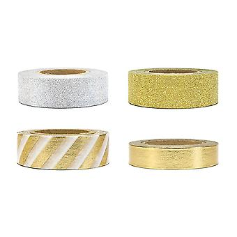 Mix of Silver and Gold Decorative Tape 4 x 10m rolls Craft Scrapbooking