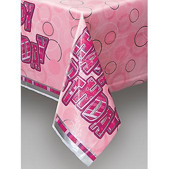 Anniversaire Glitz Pink - couverture rose en plastique imprimé Table