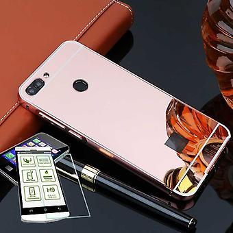 Espejo / aluminio espejo de parachoques color rosa 2 piezas + 0,3 mm H9 vidrio templado para Huawei P smart