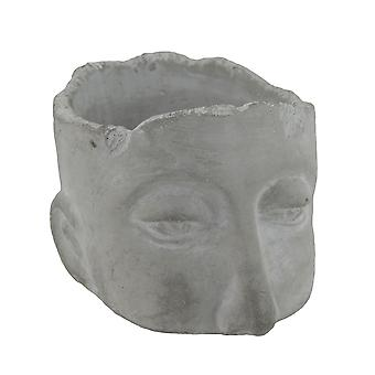 Weathered Finish Small Sculptural Cement Head Planter