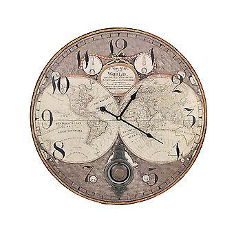 Oude wereld kaart 23 Inch Diameter slinger Wandklok