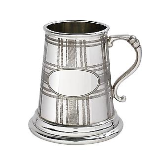 Tartan Embossed Pewter Tankard - � pint
