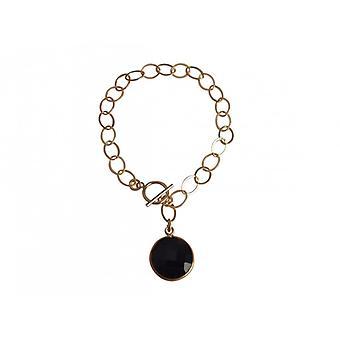 Gemshine - Damen - Armband - Vergoldet - Onyx - Schwarz - CANDY