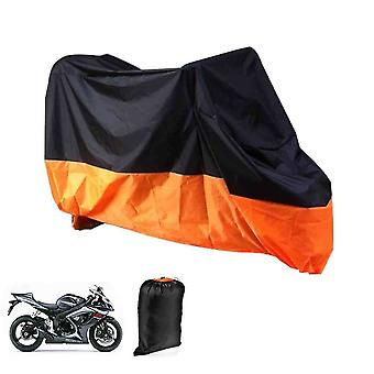 XL Motorcycle Folding Tarpaulin For Garage Outdoors Waterproof Black and Orange - With Pocket 245 X 105 X 125cm