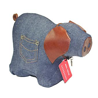 Denim Pig Door Banger / Doorstop by Monica Richards