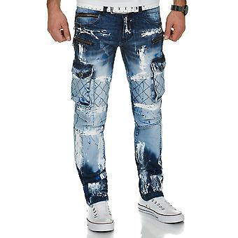 Kosmo Lupo mens cargo jeans broek blauw