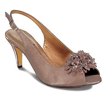 Ladies Peep Toe intelligente Floral perles faible talon Chaussures Femme Clutch Purse Set