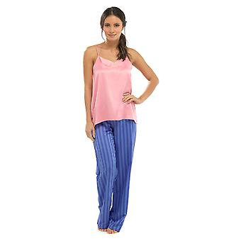 Ladies Wolf & Harte Strappy Top And Trouser Summer Stripe Satin Pyjama Sleepwear