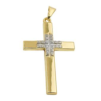Pendant cross rhodium-plated 9k gold