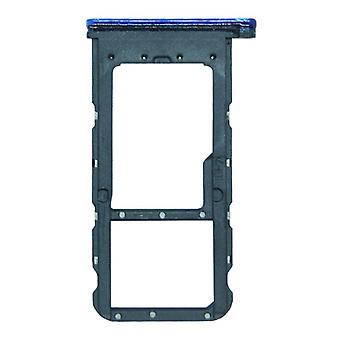 Für Huawei P Smart Plus Karten Halter Sim Card Tray Schlitten Holder Blau Ersatzteil Neu