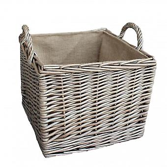 Small Antique Wash Square Hessian Lined Log Basket