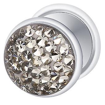 Gefälschte Cheater versilbert Ohr Stecker, Ohrring, Körperschmuck mit Multi Crystal Black Diamond