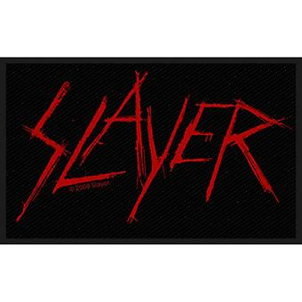 Slayer Patch Scratched Band Logo Official New Black Cotton Sew On (10cm x 5.5cm)