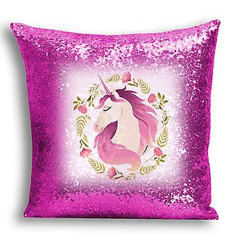 i-Tronixs - Unicorn Printed Design Pink Sequin Cushion / Pillow Cover with Inserted Pillow for Home Decor - 9