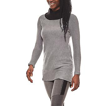 vivance collection structured women's Turtleneck Sweater grey