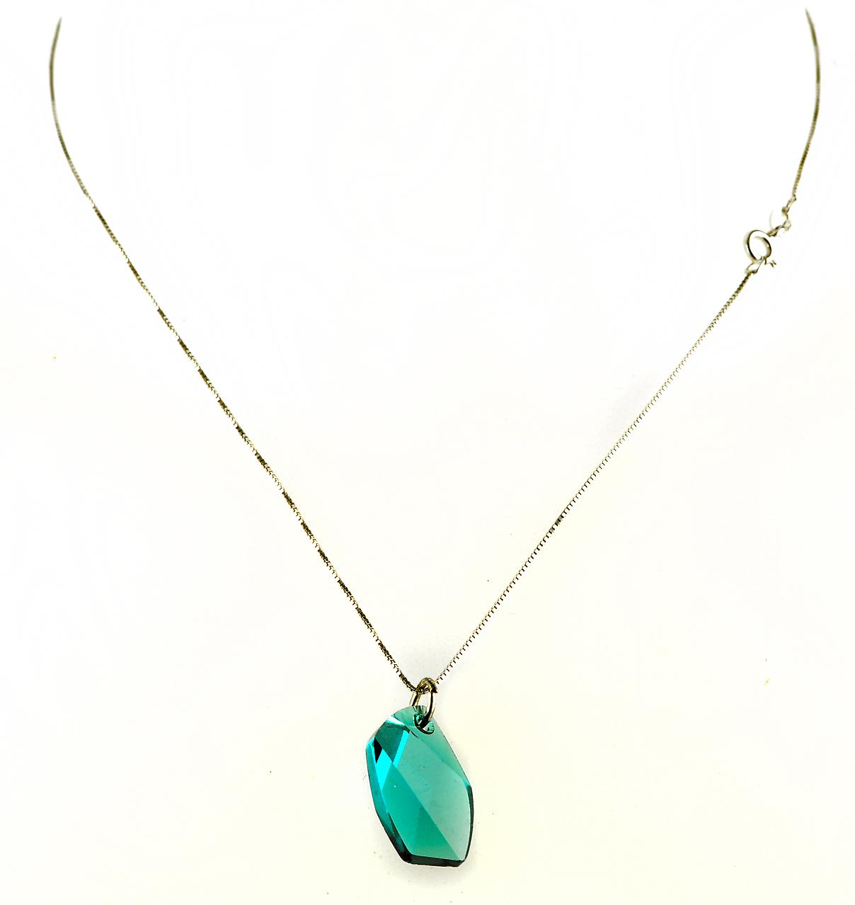 Waooh - Fashion Jewellery - WJ0306 - Necklace with Swarovski Pierre Bleue - Color Silver Chain