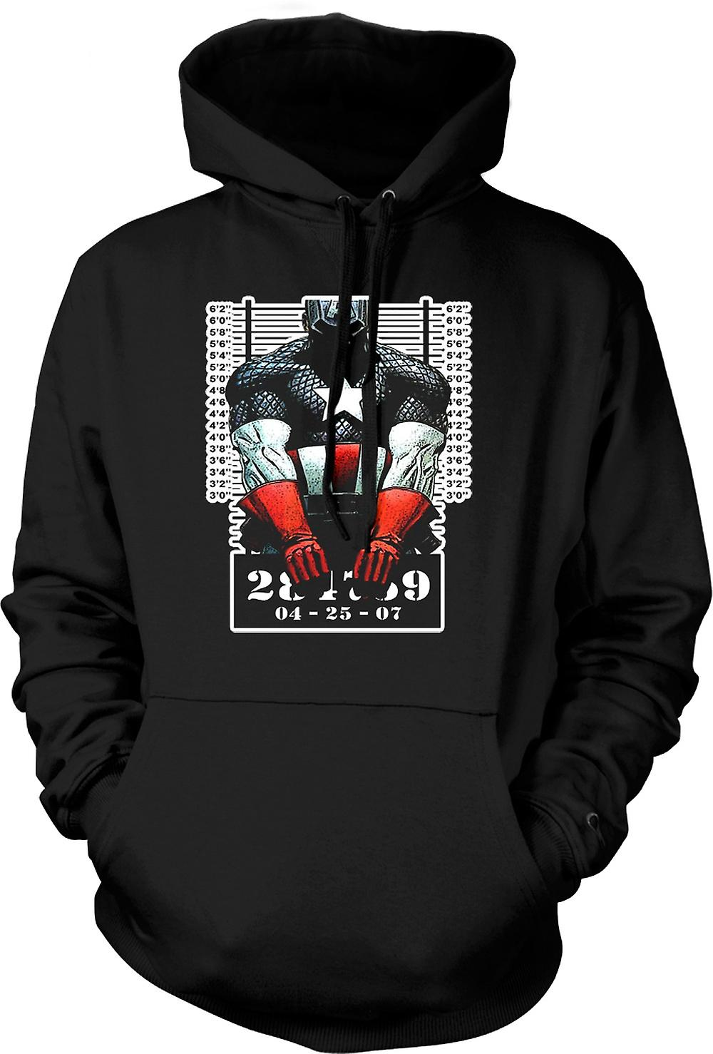 Mens Hoodie - Captain America - Cartoon - Mug Shot