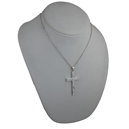 Silver 55x33mm hand engraved solid block Cross with bail on a cable Chain 18 inches