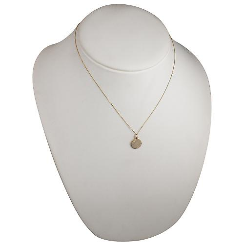 9ct Gold 13mm hand engraved round Disc with a curb Chain 18 inches