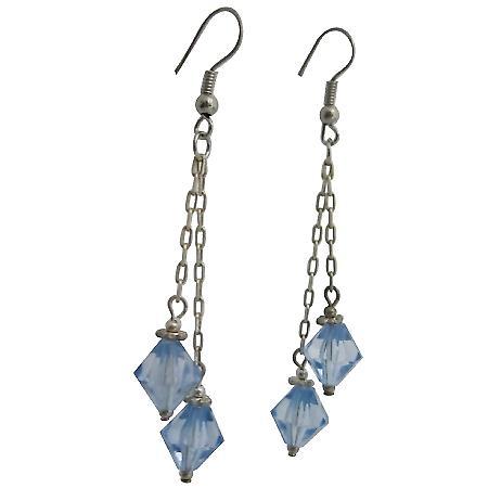 Lite Sapphire Bicone Crystals Double String Fabulous Dangling Earrings