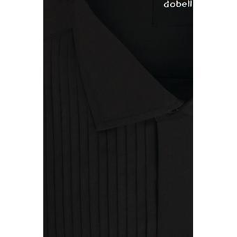 Dobell Mens Black Dress Shirt Regular Fit Standard Collar Double Cuff Pleated Fly Front