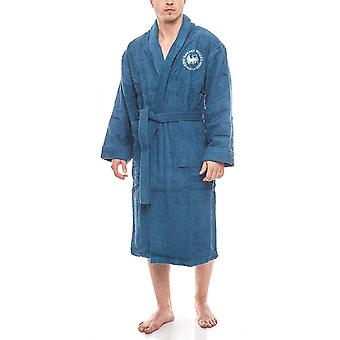 Harvey Miller Polo Club of comfortable men's bathrobe with belt blue