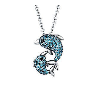 Pendant Dolphin adorned of Swarovski crystal blue and Silver 925