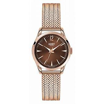 Henry London forgyldt Harrow Rose Mesh chokolade Dial HL25-M-0044 Watch