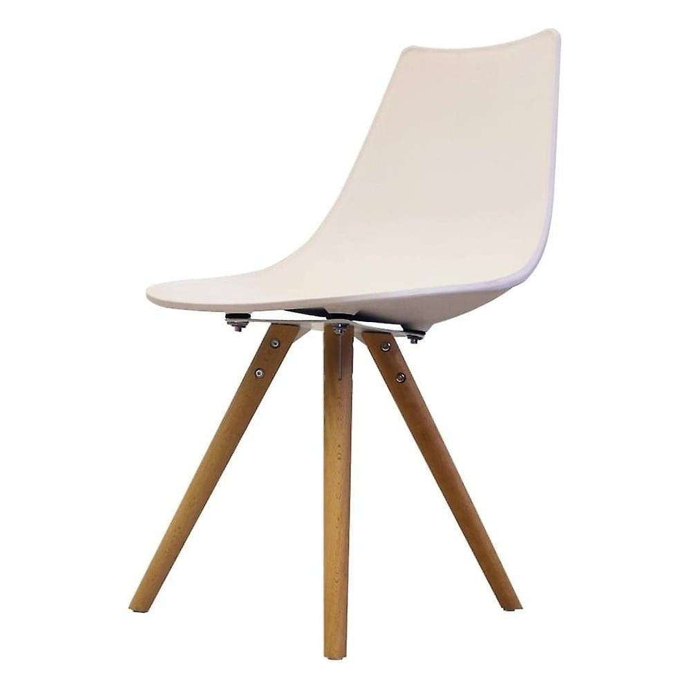 Fusion Living Iconic blanc Plastic Dining Chair With lumière bois Legs