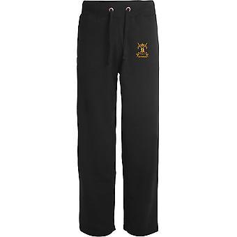 9e Queens Royal Lancers Veteran - Licensed British Army Embroidered Open Hem Sweatpants / Jogging Bottoms