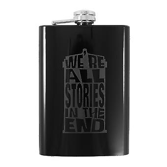 8oz we're all stories in the end - black flask l1