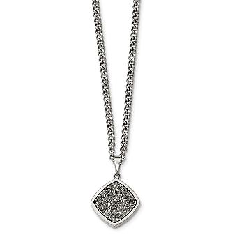 Stainless Steel Polished With Silver Druzy Necklace - 27.25 Inch