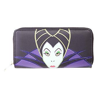 Maleficient Geldbörse gepatcht Logo neue offizielle Disney Black Zip Around